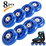 RUNACC Inline Roller Skate Wheels 82A 70mm Premium for Replacement Rollerblade Wheels with Bearings (Blue- Set of 8) (82A-Blue-8pcs) (82A-8pcs-Blue)