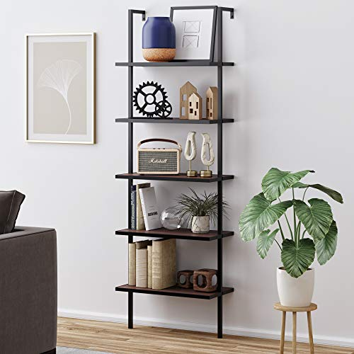 Nathan James Theo 5-Shelf Wood Modern Bookcase, Open Wall Mount Ladder Bookshelf with Industrial Metal Frame,...