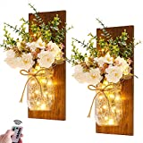 Rustic Wall Sconces Mason Jar Sconces Handmade Wall Art Hanging Design with Remote Control LED Fairy Lights and White Peony,Farmhouse Kitchen Decorations Wall Home Decor Living Room Lights Set of Two