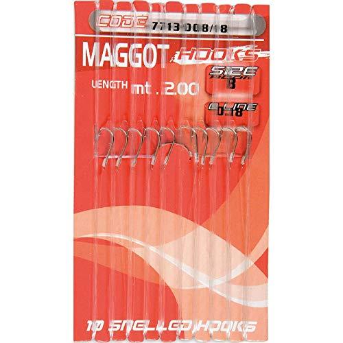 Lineaeffe Ami da Pesca Legati con Filo Fluorocarbon Maggot Hooks Amo 12 0.14 mm 2 m Amo Trota Lago Mare Surfcasting