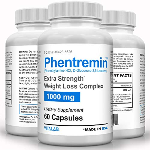 Phentremin, Extra Strength Weight Loss Complex, Best Appetite Suppressant, 37.5, 60 Capsules 1
