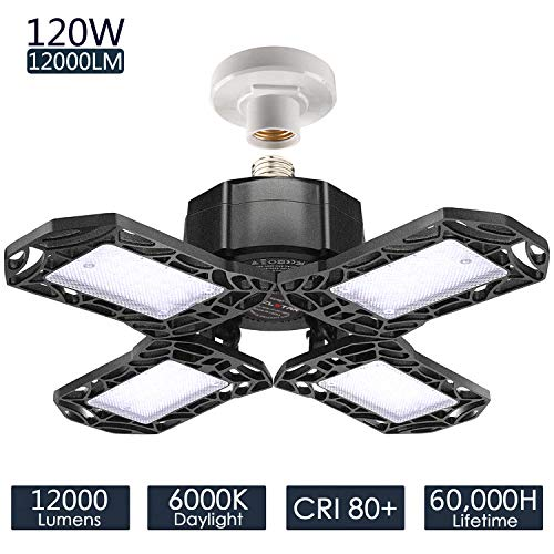 LED Garage Lights 120W - 12000LM Garage Lights Ceiling LED, 6000K Four-Leaf Deformable LED Garage...