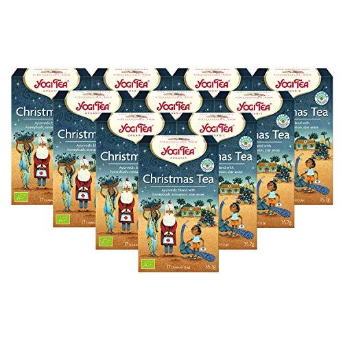Yogi Tee 10x Christmas Bio YOGI TEA® I leckere ayurvedische Gewürz-Tee-Mischung mit Zimt uvm. I großes Tee-Set mit 10x 17 Tee-Beutel - echte Bio-Qualität I Weihnachts-Gewürztee 10 Päckche