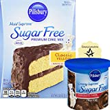 Pillsbury Sugar Free Yellow Cake Moist Supreme Cake Mix and Cupcake Mix with Frosting and 1 SimplyComplete Conversion Chart Bundle