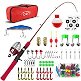 TQONEP Kids Fishing Pole,with Spincast Fishing Reel Tackle Box for Boys, Girls, Youth, Portable Telescopic Fishing Rod and Complete kit with Rotating Fishing Spool. (red, 120CM 47.24IN)
