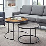Walker Edison Furniture Company Modern Industrial Wood Round Coffee Nesting Tables Living Room Accent Ottoman Storage Shelf, 30 Inch, Reclaimed Barnwood Brown