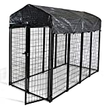 HITTITE Large Dog Kennel, Outdoor Dog Kennel, Anti-Rust Steel Welded Wire Outdoor Pet Playpen with Heavy Duty UV-Resistant Waterproof Cover, for Outdoor&BigYards&Farms, 8'L x4' W x 6'H, Black.