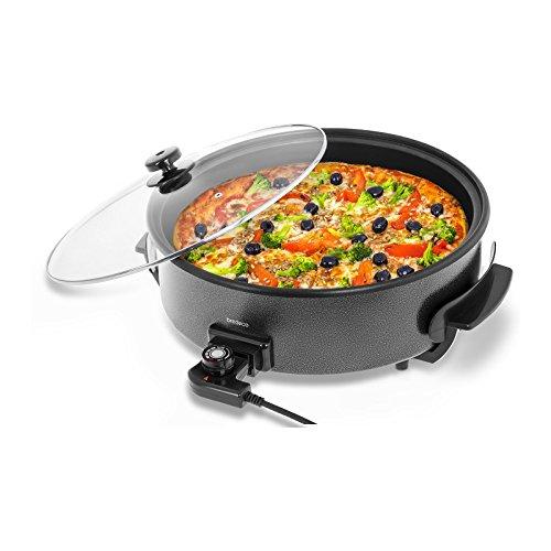 Bredeco BCPP 40-9 Elektropfanne Pizzapfanne Partypfanne mit Deckel (1400 W, 230 V, 5 Stufen 100–250 °C, Höhe 9 cm, Teflon, Ø 40 cm) Schwarz