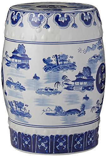 "Oriental Furniture 18"" Landscape Blue & White Porcelain Garden Stool"