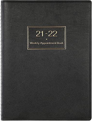 Agenda 2021 Semana Vista, Agenda 2021 de la semana A4 para ver el planificador por hora en 15 minutos, 21.8 x 29 cm, libro de citas de tapa blanda con anillas, Negro