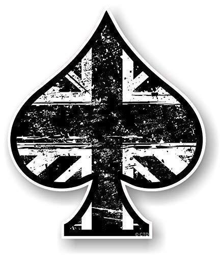 As de Picas Diseño con Blanco y Negro Grunge Estilo Bandera Británica Union Jack Impreso Vinilo Coche Moto Pegatina 100x85mm por Ctd