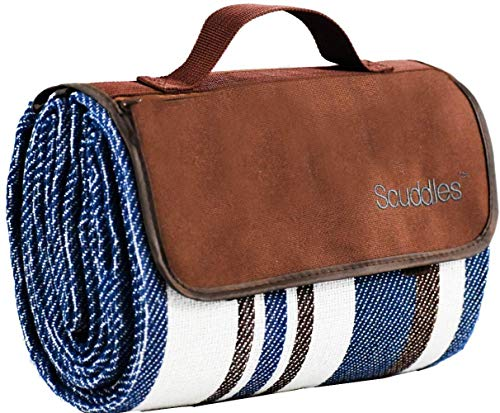 Extra Large Picnic & Outdoor Blanket Dual Layers for Outdoor Water-Resistant Handy Mat Tote Spring Summer Blue and White Striped Great for The Beach, Camping on Grass Waterproof Sandproof (60 X 58)