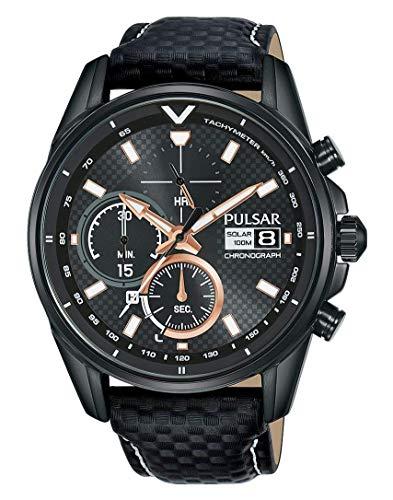 Pulsar Herren Analog Quarz Uhr mit Echtes Leder Armband PZ6033X1