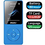 Mp3 Player, RUIZU X02 Ultra Slim Music Player with FM Radio, Voice Recorder, Video Play, Text Reading, 80 Hours Playback and Expandable Up to 128 GB (Blue)