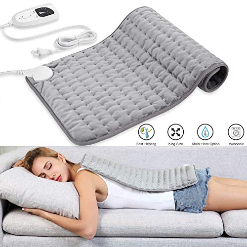 Dekugaa Heating Pad, Electric Heating Pad for Moist & Dry Heat, 6 Electric Temperature Options, 4 Temperature Settings-Auto Shut Off -King Size 12' x 24'-Hot Heated Pad