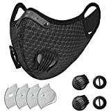 XiQi Breathable Face Mask Washable Mask with 4 Filters for Outdoor Protection, Black