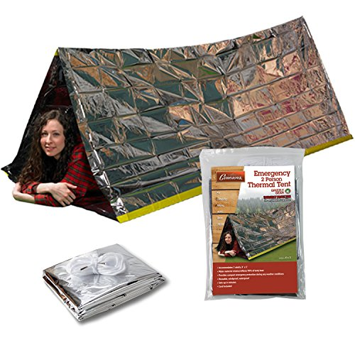 Grizzly Gear Emergency Thermal Tent | Weatherproof Mylar Disaster Survival 2-Person Bivouac | 8 ft x 3 ft | Compact Lightweight Hiking/Camping/Backpacking Shelter | Premium Prepper