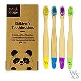 Brosse à dents en bambou pour enfants organique   Quatre couleurs   Soies de fibres douces   Poignée 100% biodégradable   Brosses à dents écologiques Vegan de Wild & Stone