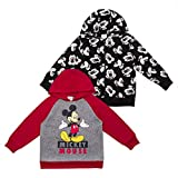 Disney 2-Pack Toddler and Boys Cars, Puppy Dog Pals, and Mickey Mouse Hoodie Apparel, Black - Red, 3T