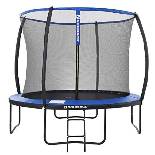 SONGMICS Trampolin Ø 305 cm, rundes Gartentrampolin mit Sicherheitsnetz, mit Leiter und gepolsterten Stangen,...