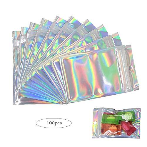 yyuezhi Bolsas de Almacenamiento de Alimentos Ziplock Planas Bolsas Mylar Zip Lock Bolsas Resellables a Prueba de Olores para Almacenaje de Alimentos Favores de Fiesta Color Holográfico 100 Piezas