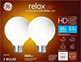 GE Lighting 31696 Finish Light Bulb Relax HD Dimmable LED G25 Decorative Globe 5.5 (60-Watt Replacement), 500-Lumen Medium Base, 2-Pack, Frosted White, 2