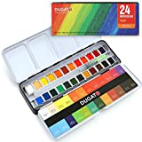Watercolor Paint Set, 24 Assorted Vibrant Solid Colors (in Tin Box) with Metal Ring, Bonus Refillable Water Brush Pen for Artists, Art Painting, Ideal for Watercolor Techniques
