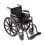 DMI Transport Chair Travel Wheelchair with Solid Steel Construction, Padded Removable Armrests, Easy to Fold and Store, Push-to-Lock Brakes, Silver and Black