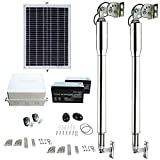 FISTERS DC24V Solar Powered Heavy-Duty(600KG) Double Swing Automatic Gate Opener Kit Suitable for Opening Gates Up to 5M Wide and 50M Remote Control