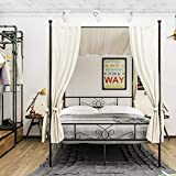 WeeHom Full Size Canopy Bed Frame Metal Platform Bed 4 Posters Sturdy Steel Mattress Foundation with Headboard and Footboard European Style No Box Spring Needed,Black