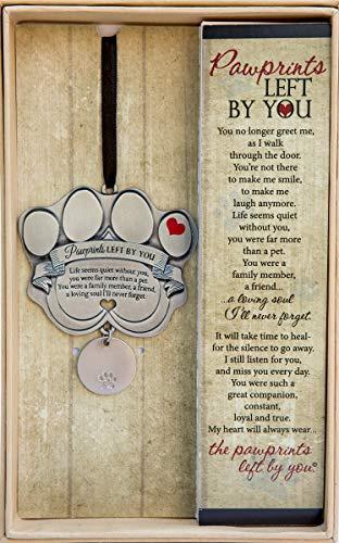 Pet Memorial Ornament - 3' Metal Casted Paw Print...