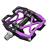 MZYRH Mountain Bike Pedals, Ultra Strong Colorful CNC Machined 9/16' Cycling Sealed 3 Bearing Pedals(Purple 3 Bearings)