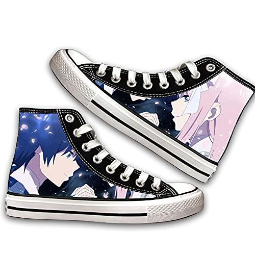 NIEWEI-YI Alpargatas Altas Darling in The FRANXX Anime Zapatos De Lona Hombres Mujeres Zapatos Casuales Zapatos De Viaje Al Aire Libre,39 EU