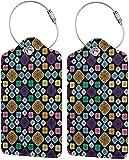 Colorido gatito único patrón de florero Lage Tags bolsa de piel sintética para maleta, diseño de etiquetas de viaje con cubierta de privacidad en la parte trasera con bucles de acero