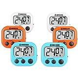 WECKEW Minuteur numérique de Cuisine avec chronomètre(2 Bleu + 2 Orange +...