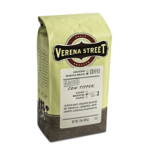 Verena Street 2 Pound Flavored Whole Bean Coffee, Cow Tipper, Medium Roast, Rainforest Alliance Certified Arabica Coffee