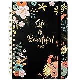 2020 Agenda- Planificateurs Semainier Agenda hebdomadaire A5 avec onglets mensuels, couverture florale 15x21cm avec reliure à deux fils, à bandes, noir