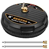 BEETRO 15' Pressure Washer Surface Cleaner, Power Washer Attachment with 2 Extension Wands for Cleaning Driveway, Sidewalk, Deck, Patio, 4000 PSI
