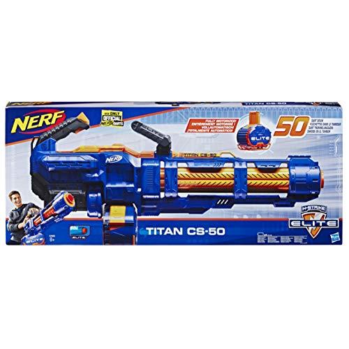 Hasbro Nerf- Titan CS-50 Blaster Motorizzato con Tamburo Rotante da 50 Dardi, Multicolore, E2865EU5