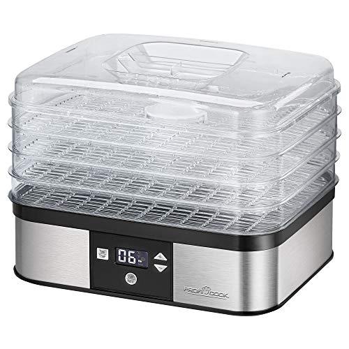 ProfiCook PC-DR 1116 Dörrautomat, 7-stufige elektronische Temperatureinstellung, Umluftgebläse, Umluftfunktion, Timer, LCD-Display, variabler Einsatz, Edelstahlgehäuse, 350 Watt