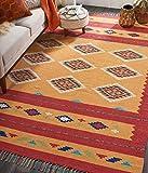 Nourison Baja BAJ02 Yellow and Red 8'x10' Large Flat Weave Rug, 8' x 10'