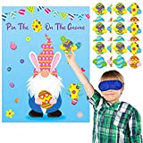MALLMALL6 Pin The Easter Egg On The Gnome Easter Party Game Favors Supplies for Kids Easter Egg Hunt Spring Holiday Classroom Activities Pin Poster with 24Pcs Removable Stickers for Boys Girls Home