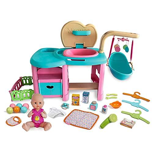 Nenuco - Maxi Nursery con Fasciatoio, Culla, Doccia e Accessori Tutto in Uno per Bambine/i a Partire da 3 Anni, 700015777