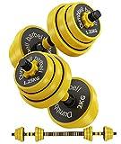 Bibowa Adjustable Dumbbells Set,Dumbbell Barbell 2 in 1,44 Lb Multifunction Weights Dumbells Set