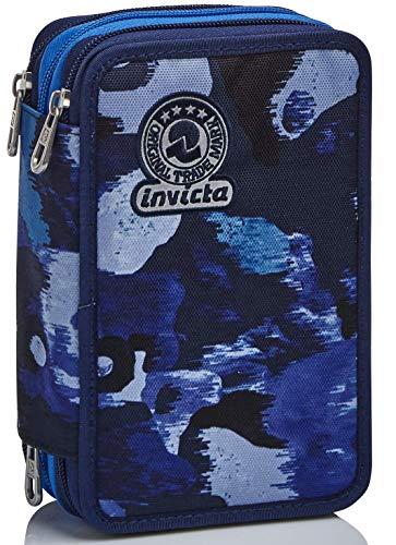 Astuccio 3 Scomparti Invicta , Camo Shade, Blu, Completo di matite, penne, pennarelli
