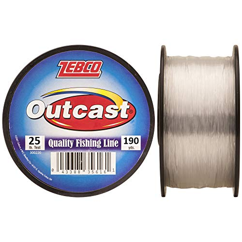 Zebco Outcast Monofilament Fishing Line, 190-Yards of 25-Pound Tested Line, Low Memory and Stretch...