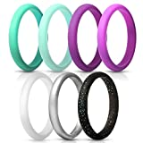 ThunderFit Women's Thin and Stackable Silicone Rings Wedding Bands - 7 Pack (Light Blue, Dark Teal, Silver, White, Black with Teal Glitter, Dark Purple, Light Purple, 5.5-6 (16.5mm))