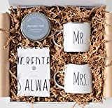 AEVUM + INK Wedding Gifts for Couples - Best Mr Mrs Newlywed Gift Box Basket Set for Couple Unique Camper Mugs Tea Dish Towel Keepsake 2021 Ornament Registry Bride Grooms Name Congratulations Package