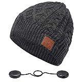 ZRUHIG Bonnet Bluetooth Homme, Bonnet Bluetooth Unisexe Cadeau Musique stéréo Chapeau d'hiver Chapeau sans Fil avec Bluetooth V5.0 Mise à Niveau Convient à Sports, Ski, Patinage, Marche (Charbon)