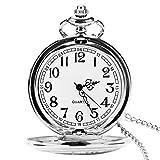 Reloj de Bolsillo para Hombre con Cadena, Colgante de Cuarzo Relojes de Bolsillo...
